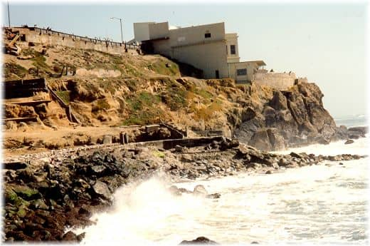 The Cliff House is sitting on the promontory ahead of us.