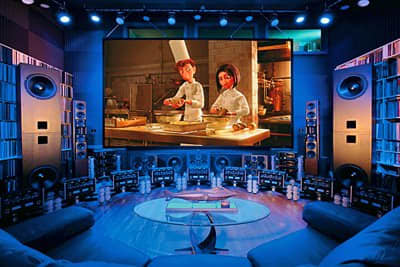 Great man cave with huge projection tv Photo credit - http://www.marcresearch.com/blogs/merrill/2008/05/