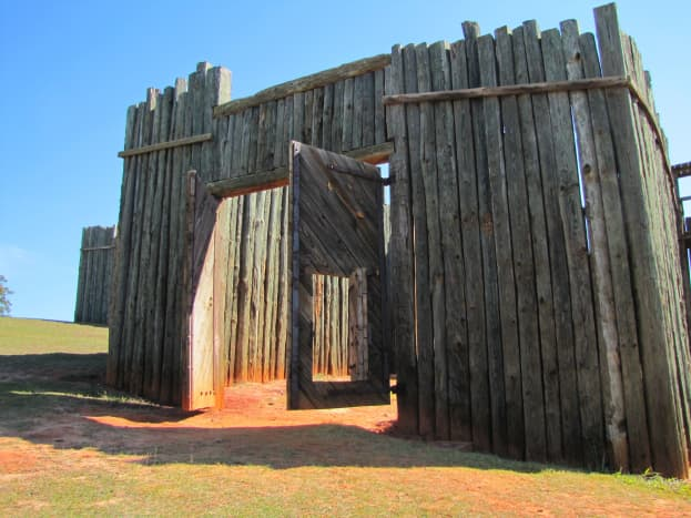 This is the reconstructed entrance to the prison.