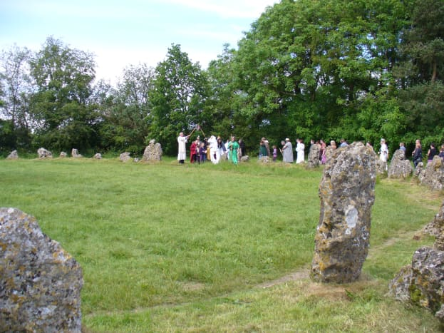 Lining up, getting ready to enter the King's Men circle under the crossed rods.