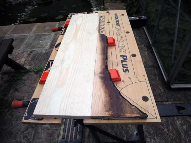 Two wooden panels joined with dowel and glue