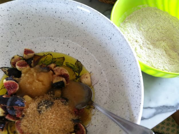 Mix extra virgin olive oil, figs honey and sugar - leaving some of the fig skins on.