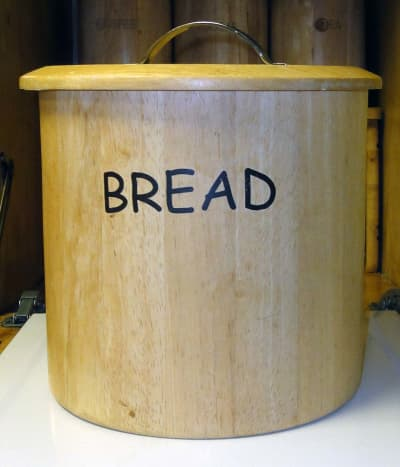 Spare bread box given to us ideal for our homemade bread