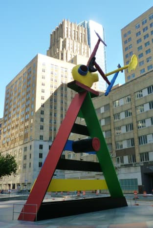 Personage and Birds by Joan Miro created in 1970 and installed here in 1982.