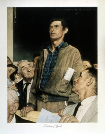 'Freedom of Speech' by Norman Rockwell (1943)