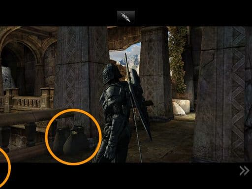 Just as Siris enters, you get a brief glimpse of a treasure bag in front of him (usually), which you can grab if you're quick. The one to its left...