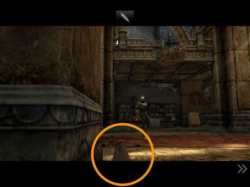 Just as Siris enters, the camera shows this view for only moment. Grab this bag if it's there; you can't pan the camera enough to reach it later.
