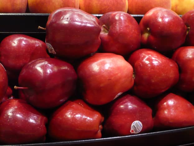 Red apple display on a local market