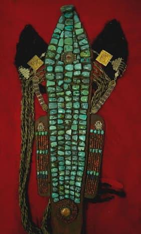 A picture of an antique Ladakhi headdress costume worn by women in the Zanskar region of Ladakh.
