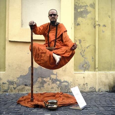 A levitating Sadhu- Street performer