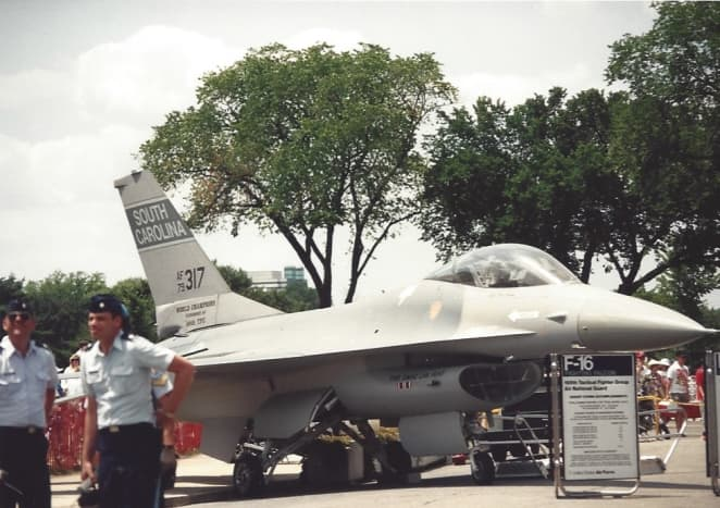An F-16 that flew in Operation Desert Storm near the Lincoln Memorial during the Desert Storm Victory Parade.