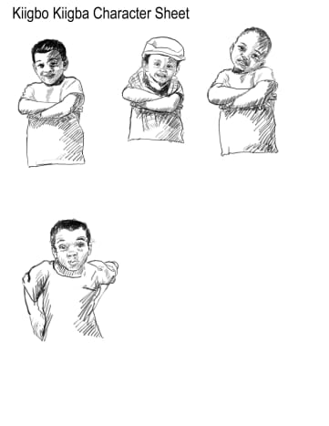 The character sheet for Kiigbo Kiigba.  I wanted the boy to look friendly but stubborn.