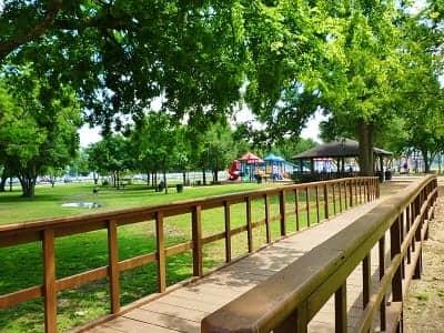 Bridge leading to pavilion & children's playground
