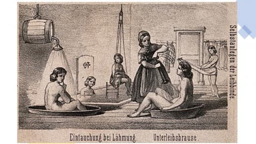 Hydrotherapy cures for the mentally ill at Gräfenberg, Germany, corset wrap [right] and douche [left]