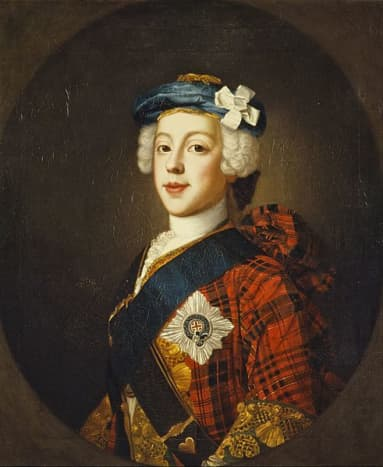 """Prince Charles Edward Stuart in a 1739-1745 period painting, in a clan tartan jacket, blue """"bonnet"""", star and ribbon of the garter, and white cockade on his hat."""
