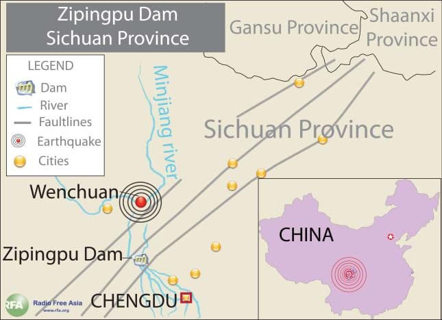 Location of The Zipingpu Dam