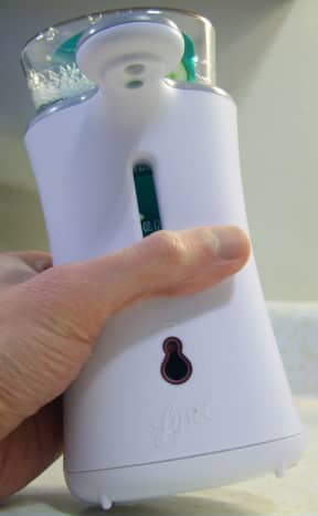 It is easy to trigger the dispenser when picking it up. Grabbing the dispenser from the front or from the sides are likely to trigger the sensor, resulting in a mess.