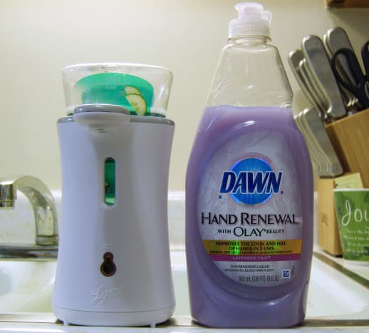 This automatic soap dispenser is about the same size as a 19oz bottle of Dawn dish detergent.