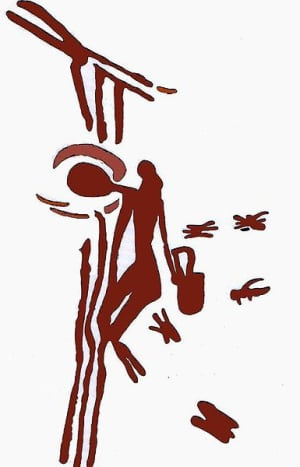 Honey seeker depicted on 8000 year old cave painting. At Araña Caves in Spain.