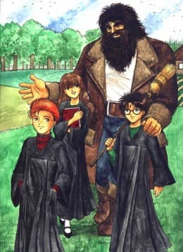 This picture of Hagrid, Harry, Ron and Hermione captures the nurturing and protective side of Hagrid and shows how close the four of them are.