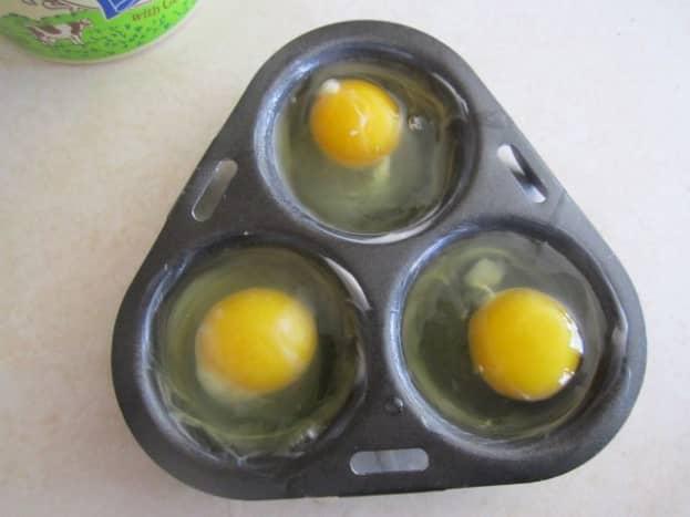 Eggs in poacher pan