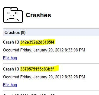 Google Chrome Crashes - 01/20/2012