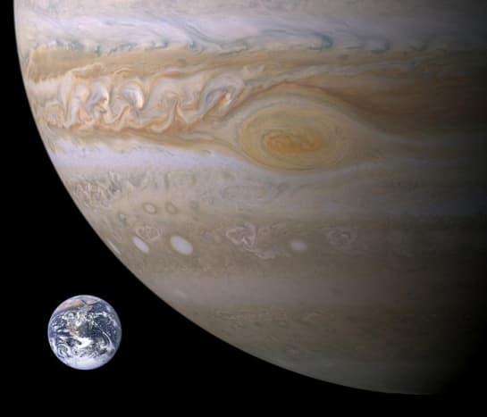 Earth in Comparison to Jupiter.