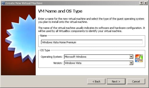 Naming the virtual machine and choosing the operating system and version.