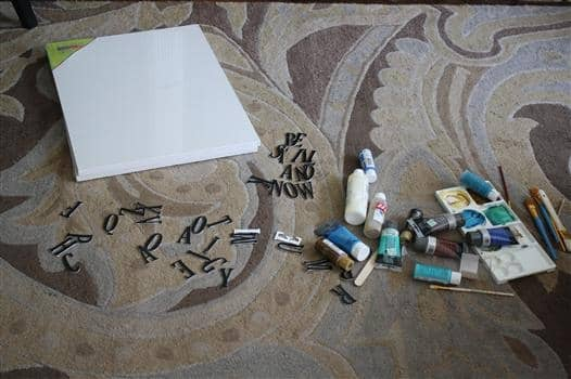 Supplies needed for ombre chipboard letter art project