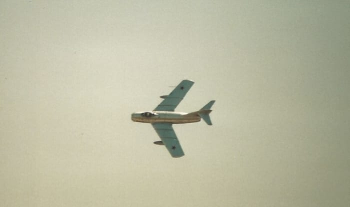 A MiG-15 over Andrews AFB, MD, May 1997