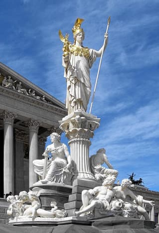 This statue at the Austrian Parliament is similar to that inside the Nashville Parthenon.