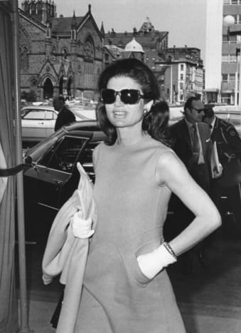 Jackie Kennedy Casually Wearing Gloves and Sun Glasses