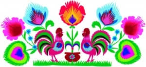 The Kodra (KOD-rah) design may be either floral (as shown here) or pictorial, and comes from the Lowicz region in Poland. Kodra designs are always multicolored.
