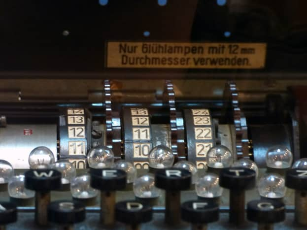 """Close-up of the keyboard of a WWII """"Enigma"""" machine. Invented by the Germans, it was soon cracked by the Allies"""