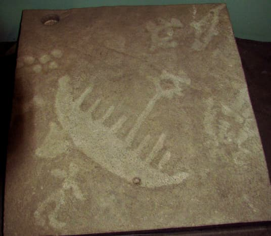 Cast of petroglyphs in Learning Centre, Petroglyphs Provincial Park, Woodview, Ontario, Canada