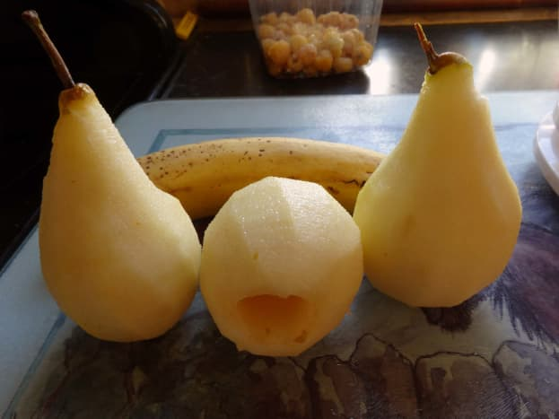 Pears peeled and cored.