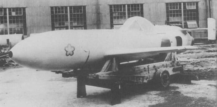 """Japanese Yokosuka MXY7 Ohka (""""Cherry Blossom""""), a specially built rocket-powered kamikaze aircraft used towards the end of the Second World War. It was the most feared of the kamikazes because there was no defense against it."""