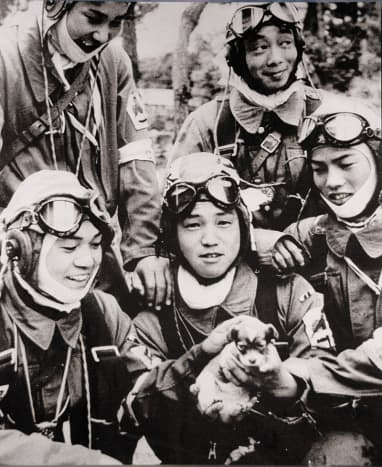 May 26, 1945 Corporal Yukio Araki, holding a puppy, and four other pilots of the 72cnd Shinbu Squadron at Bensei, Kagoshima, Araki died the following day, in a suicide attack on ships near Okinawa.