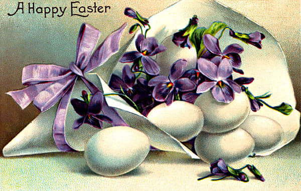 Vintage Easter cards: Violets and Easter eggs in a paper horn tied with a purple bow
