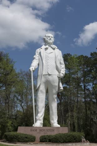 This tribute to this Texas hero was designed and constructed by artist David Adickes, who dedicated the statue to the City of Huntsville, Texas on October 22, 1994.