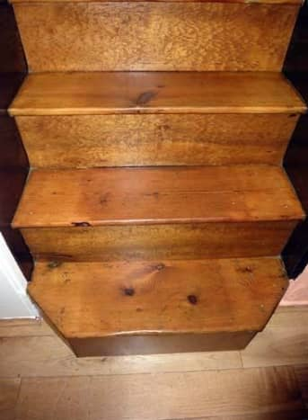 Bottom of stairs oak varnished