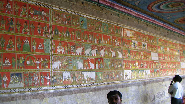 Wall full of paintings
