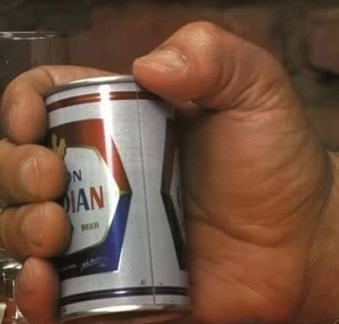 A 12 oz. Canadian Molson in the hand of Andre the Giant.