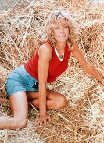 Farrah Fawcett looking sexy in a haystack