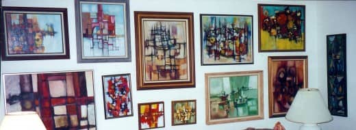Paintings that used to hang in the Rogan's living room in Beaumont, Texas.