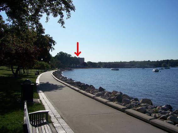 shore line views from downtown Lake Geneva overlooking Geneva Lake