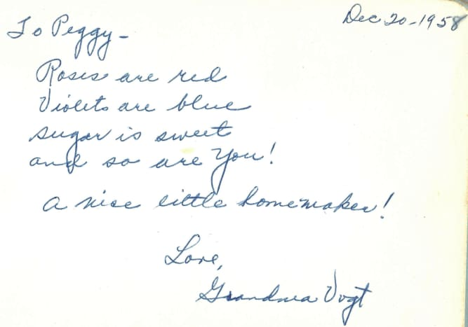 Autographed page from my grandmother
