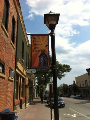 This banner hangs outside The Orillia Museum of Art on Peter Street.