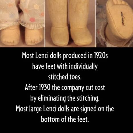 These are a few of the identifying characteristics of the feet of Lenci dolls.