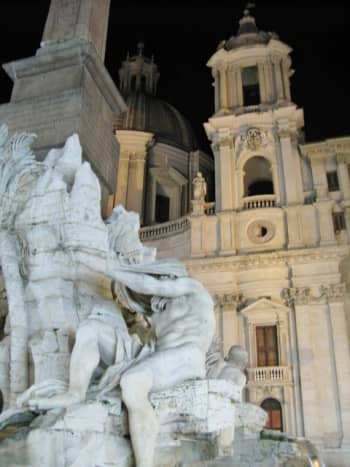 Fountain of the Four Rivers and Church of St. Agnese In Piazza Navona